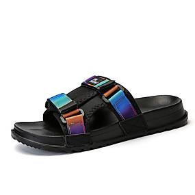baratos Sandálias e Chinelos Masculinos-Homens Sapatos Confortáveis Jeans Verão Casual Chinelos e flip-flops Caminhada Respirável Botas Cano Médio Arco-íris / Branco e Preto / Azul