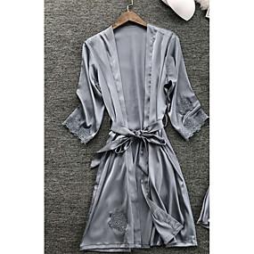 رخيصةأون ثوب-نسائي مثير ثوب / ساتان و حرير ملابس نوم دانتيل, لون سادة أزرق البحرية رمادي نبيذ M L XL