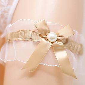 billige Strømpebånd til bryllup-Satengchiffon Aristokrat Lolita / Brude Bryllupsklær Med Sløyfe / Perledetaljer Strømpebånd Bryllup / Fest