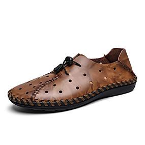 baratos Oxfords Masculinos-Homens Sapatos Confortáveis Pele Primavera / Verão Esportivo / Casual Oxfords Respirável Preto / Marron / Ao ar livre