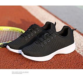 baratos Sapatos Esportivos Femininos-Mulheres Tissage Volant Outono Tênis Corrida Salto Baixo Branco / Preto