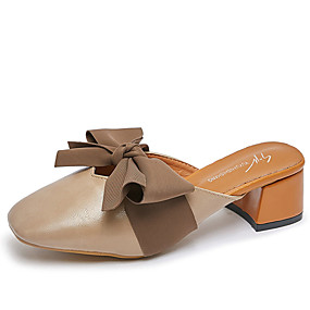 de90846d30ff0 Women's PU(Polyurethane) Spring Casual Clogs & Mules Chunky Heel Square Toe  Bowknot Beige / Almond / Color Block