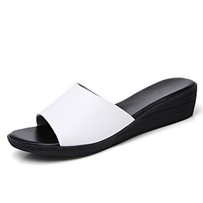d293eb4f1 Women s PU(Polyurethane) Summer Casual Slippers   Flip-Flops Wedge Heel  Round Toe White   Black