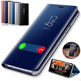 voordelige Mobiele telefoonhoesjes-hoesje Voor Samsung Galaxy Galaxy S10 / Galaxy S10 Plus met standaard / Beplating / Spiegel Volledig hoesje Effen Hard PU-nahka voor S9 / S9 Plus / S8 Plus