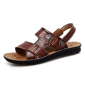 baratos Sandálias Masculinas-Homens Sapatos Confortáveis Microfibra Verão Casual Sandálias Respirável Castanho Claro / Castanho Escuro