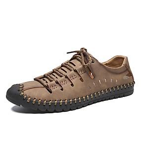 baratos Tênis Masculino-Homens Sapatos de couro Pele Napa / Pele Primavera Verão Casual Tênis Respirável Preto / Castanho Claro / Khaki