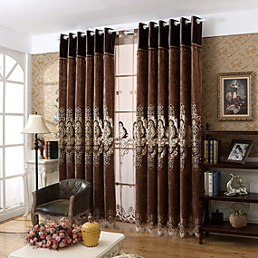 cheap sales-Neoclassical Privacy One Panel Curtain Bedroom   Curtains / Jacquard