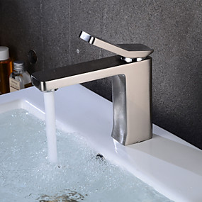 ราคาถูก ของประดับบ้าน-ก๊อกน้ำอ่างล้างจานห้องน้ำ - กระจาย Nickel Brushed ตัวเจาะนำศูนย์ จับเดี่ยวหนึ่งหลุมBath Taps