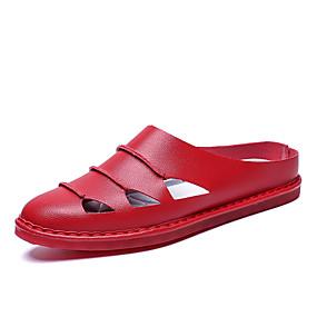 baratos Tamancos Masculinos-Homens Sapatos Confortáveis Couro Sintético Verão Casual Tamancos e Mules Caminhada Respirável Vermelho Escuro / Castanho Claro / Castanho Escuro