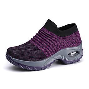 baratos Sapatos Esportivos Femininos-Mulheres Tissage Volant Primavera & Outono / Verão Tênis Fitness / Caminhada Sem Salto Preto / Cinzento / Roxo