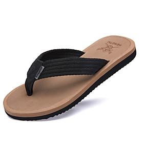 Χαμηλού Κόστους Αντρικές Παντόφλες & Σαγιονάρες-Ανδρικά Παπούτσια άνεσης Πανί Καλοκαίρι Παντόφλες & flip-flops Μαύρο / Καφέ