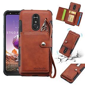 halpa Puhelimen kuoret-Etui Käyttötarkoitus LG LG Q Stylus / LG Stylo 4 Lomapkko / Korttikotelo / Iskunkestävä Takakuori Yhtenäinen Pehmeä PU-nahka