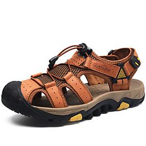 baratos Sandálias Masculinas-Homens Sapatos Confortáveis Pele Napa / Com Transparência Primavera Verão Casual Sandálias Respirável Preto / Marron / Khaki