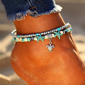 cheap Essential Accessorices For Every Ladies-Women's Turquoise Layered Double Ankle Bracelet feet jewelry Turtle Starfish Ladies Bohemian Ethnic Fashion Boho Anklet Jewelry Silver For Going out Beach Bikini