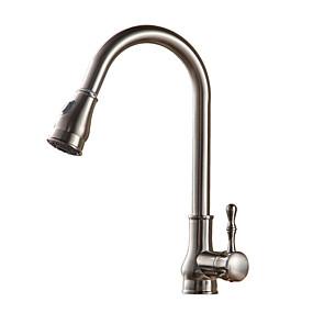 billige Uttrekkbar Spray-Kjøkken Kran - Enkelt Håndtak Et Hull Olje-gnidd Bronse / Nikkel Børstet / galvanisert Uttrekkbar Bolleservant