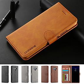 저렴한 휴대폰 악세사리-케이스 제품 Samsung Galaxy Note 9 카드 홀더 / 스탠드 / 마그네틱 전체 바디 케이스 솔리드 하드 PU 가죽 용 Note 9 / Note 8