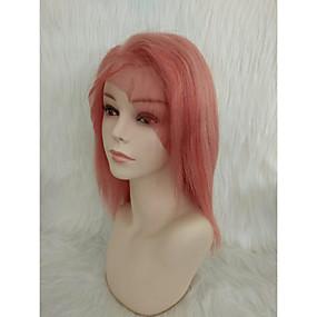 billige Pink & Red Lace Wigs-Ekte hår Helblonde Parykk Gratis del Wendy stil Brasiliansk hår Rett Lyserød Parykk 130% Hair Tetthet Dame Ungdom Dame Kort Andre Clytie