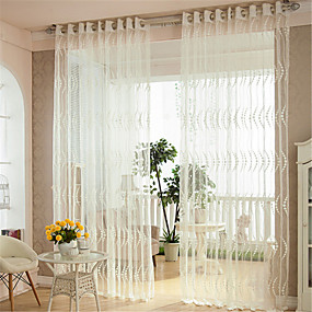 cheap Sheer Curtains-Gyrohome Grommet Top Wear Rod Hook 1pc Wave Jacquard Voile Curtain GYV1011 Drape Window Children Door *Customizable* Living Room Bedroom Dining Room Balcony Children