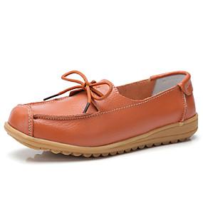 voordelige Damesinstappers & loafers-Dames Loafers & Slip-Ons Platte hak Ronde Teen Rubber / Leer Klassiek / Informeel Lente & Herfst Oranje / Geel / Rood