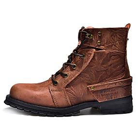 baratos Botas Masculinas-Homens Sapatos Confortáveis Pele Outono & inverno Botas Botas Cano Médio Marron / Castanho Claro / Castanho Escuro