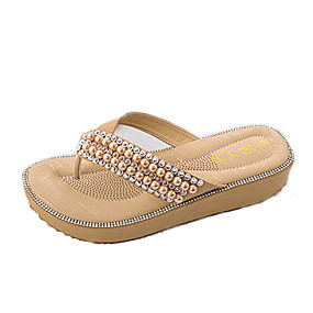 46a4ef8e4b91 Women s PU(Polyurethane) Summer Sweet Slippers   Flip-Flops Wedge Heel Open  Toe Pearl Blue   Pink   Almond