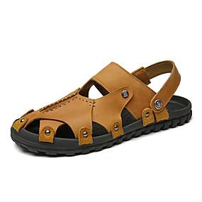 fef1237dfed14 Męskie Komfortowe buty Skóra nappa Wiosna / Lato Sportowy / Casual Sandały  Oddychający Czarny / Brązowy