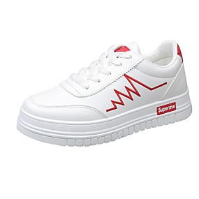 voordelige Damessneakers-Dames Sneakers Blokhak Ronde Teen Imitatieleer Zoet / Studentikoos Wandelen Lente zomer / Herfst winter Rood / Zilver / Zwart / Gestreept