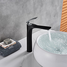 billige Ugentlige tilbud-Baderom Sink Tappekran - Utbredt Svart Vannrett Montering Enkelt Håndtak Et HullBath Taps