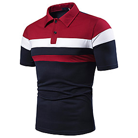 povoljno Natrag u školu-Veličina EU / SAD Polo Muškarci Color block Kragna košulje Kolaž Red