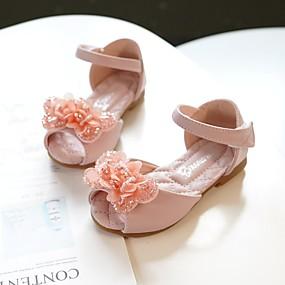 cheap New Arrivals-Girls' Shoes Microfiber Spring / Summer Comfort / Flower Girl Shoes Sandals Bowknot for Kids / Toddler Light Pink / Ivory