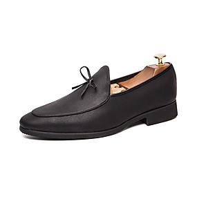 baratos Sapatilhas e Mocassins Masculinos-Homens Sapatos de vestir Couro Primavera / Outono Casual Mocassins e Slip-Ons Respirável Preto / Festas & Noite
