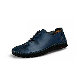 baratos Oxfords Masculinos-Homens Sapatos Confortáveis Pele Primavera Casual Oxfords Respirável Amarelo / Marron / Azul