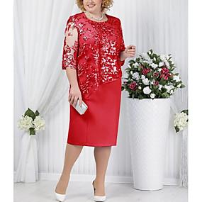 povoljno Crvene haljine-Žene Majica Haljina - Čipka Midi