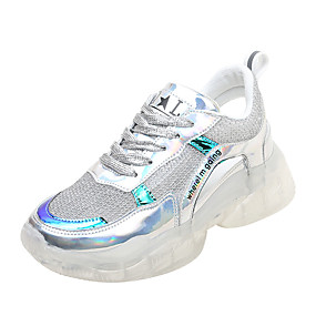fc0956d06 نسائي شبكة الصيف كاجوال أحذية رياضية الركض كعب إسفينWedge Heel أمام الحذاء  على شكل دائري فضي / زهري
