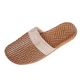 baratos Sandálias e Chinelos Masculinos-Homens Sapatos Confortáveis Linho Verão Casual Chinelos e flip-flops Respirável Bege / Marron