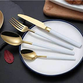 voordelige Bestek-servies 4pcs Milieuvriendelijk Nieuw Design Roestvast staal Dinervork Dinermes Dessertlepel