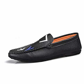 cheap Men's Shoes-Men's Moccasin PU(Polyurethane) Spring & Summer Casual Loafers & Slip-Ons Non-slipping Color Block White / Black