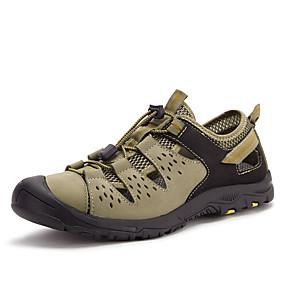 baratos Sandálias Masculinas-Homens Sapatos de couro Pele Napa Verão Esportivo / Casual Sandálias Aventura / Caminhada Respirável Preto / Khaki