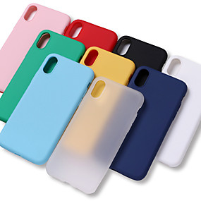 cheap iPhone Cases-Case For Apple iPhone X / iPhone 8 Plus Shockproof / Water Resistant Back Cover Solid Colored Soft TPU for iPhone XS / iPhone XR / iPhone XS Max