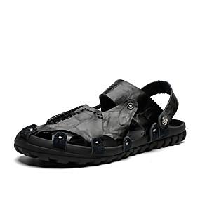 baratos Sandálias Masculinas-Homens Sapatos Confortáveis Pele Primavera Verão Clássico / Vintage Sandálias Água / Tênis Anfíbio Respirável Preto / Marron / Khaki