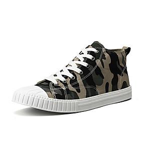 baratos Tênis Masculino-Homens Sapatos Confortáveis Algodão Primavera Casual Tênis Respirável Côr Camuflagem Verde / Cinzento