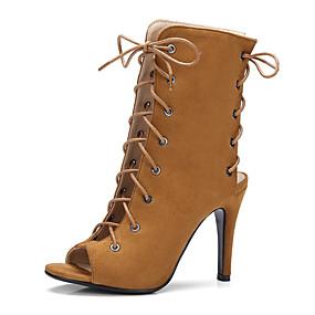 billige Mote Boots-Dame PU Vår sommer Vintage / Britisk Støvler Konisk hæl Titte Tå Lyseblå / Mandel / Lysebrun / Fest / aften