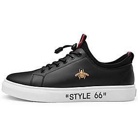 baratos Tênis Masculino-Homens Sapatos Confortáveis Microfibra Primavera Tênis Branco / Preto