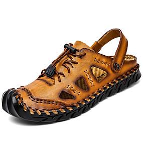 baratos Sandálias Masculinas-Homens Sapatos Confortáveis Couro Ecológico Verão Clássico / Casual Sandálias Água / Caminhada Respirável Preto / Amarelo / Vermelho