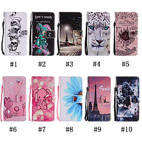 billige iPhone-etuier-Etui Til Apple iPhone XR / iPhone XS Max Pung / Kortholder / Med stativ Fuldt etui Kat / Dyr / Dødningehoveder Blødt PU Læder for iPhone XS / iPhone XR / iPhone XS Max