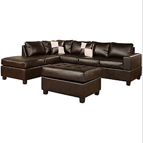 cheap Living Room Furniture-Reversible Soft Touch Faux Leather 3-Piece Sectional Sofa Set