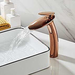 povoljno Novo u ponudi-Kupaonica Sudoper pipa - Waterfall Rose Gold Središnje pozicionirane Jedan Ručka jedna rupaBath Taps