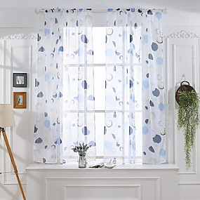 cheap Free Shipping-Contemporary Two Panels Sheer Bedroom   Curtains