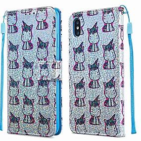 billige iPhone-etuier-tilfældet til Apple iPhone xr / iphone xs maks mønster / flip / med stativ hele krops tasker dyr / glitter skinne hårdt pu læder til iPhone 6s / 6s plus / iphone 7/7 plus / iphone 8/8 plus / iphone x