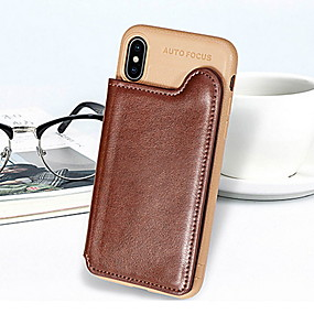 cheap iPhone Cases-Case For Apple iPhone XS Max / iPhone 6 Card Holder / Shockproof / with Stand Back Cover Solid Colored Hard PU Leather for iPhone XS / iPhone XR / iPhone XS Max